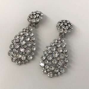 Oscar de la Renta Dangle Earrings Large Crystals